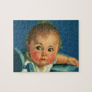 Vintage Child, Cute Baby Boy or Girl in Highchair Jigsaw Puzzle