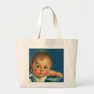 Vintage Child, Cute Baby Boy or Girl in Highchair Tote Bag