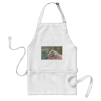 Vintage Child, Cute Baby Playing in Crib, Nap Time Aprons