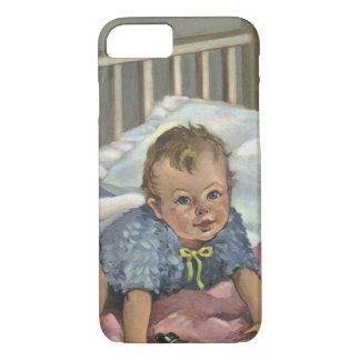 Vintage Child, Cute Baby Playing in Crib, Nap Time iPhone 7 Case