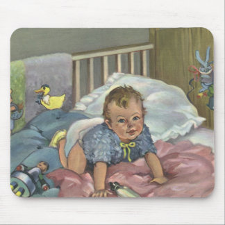 Vintage Child, Cute Baby Playing in Crib, Nap Time Mouse Pad