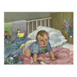 Vintage Child, Cute Baby Playing in Crib, Nap Time Post Cards