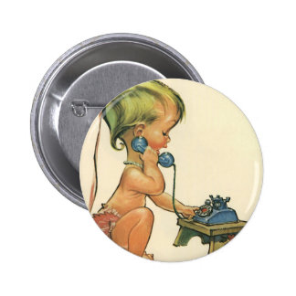 Vintage Child Cute Blond Girl Talking on Toy Phone 6 Cm Round Badge