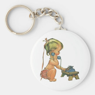 Vintage Child Cute Blond Girl Talking on Toy Phone Keychain