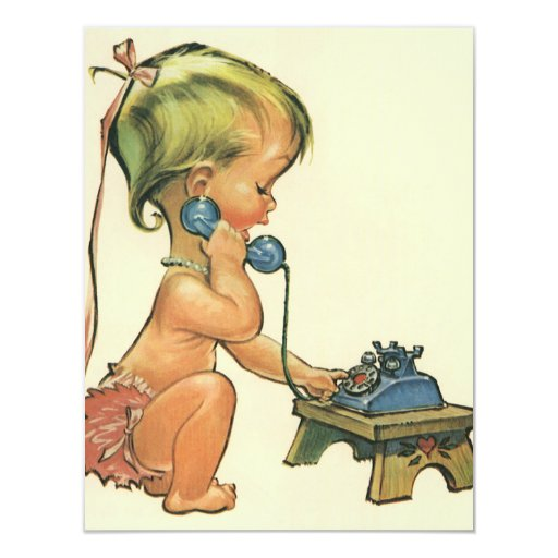 Vintage Child Cute Blonde Girl Talking on Toy 11 Cm X 14 Cm Invitation Card