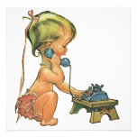Vintage Child Cute Blonde Girl Talking on Toy Phon Personalized Invites