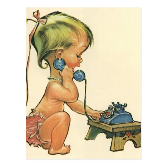 Vintage Child Cute Blonde Girl Talking on Toy Postcard