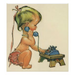 Vintage Child Cute Blonde Girl Talking on Toy Poster