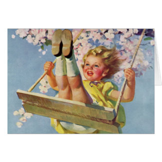 Vintage Child, Girl Swinging on a Tree Swing Play Greeting Card