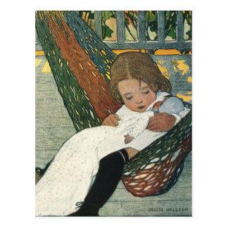 Vintage Child Hammock Doll; Jessie Willcox Smith Postcard