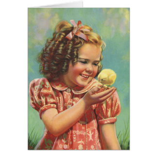 Vintage Child, Happy Smile, Girl with Baby Chick Greeting Card