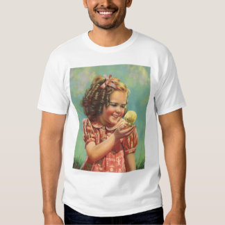 Vintage Child, Happy Smile, Girl with Baby Chick T Shirts