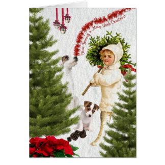 Vintage Child & Jack Russell Merry Christmas Card
