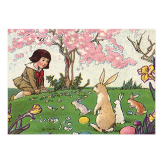 Vintage Child on an Easter Egg Hunt with Animals Custom Invitation