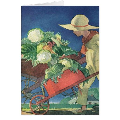 Vintage Child Organic Gardening Victory Garden Greeting