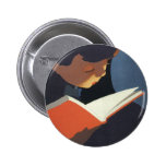 Vintage Child Reading a Book From the Library Badges