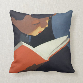 Vintage Child Reading a Book From the Library Throw Pillow