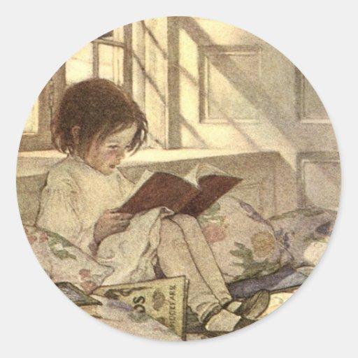 Vintage Child Reading a Book, Jessie Willcox Smith Sticker