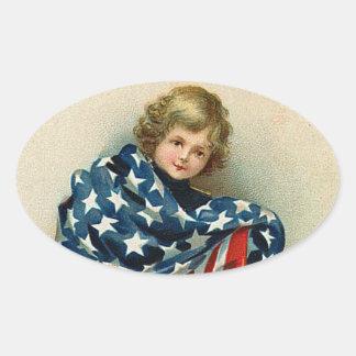 Vintage Child with Flag Sticker