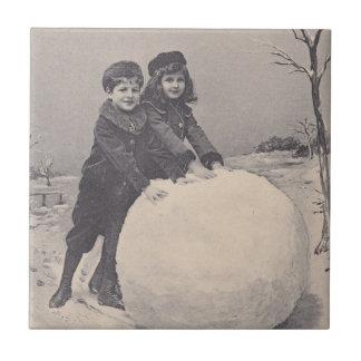 Vintage Childhood Memory Box Tile Winter Snowman