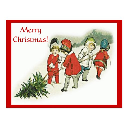 Vintage Children and Christmas Tree Postcards