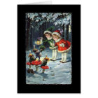 Vintage Children and Gnomes Christmas Card