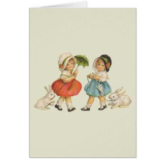 Vintage Children and Rabbits Card