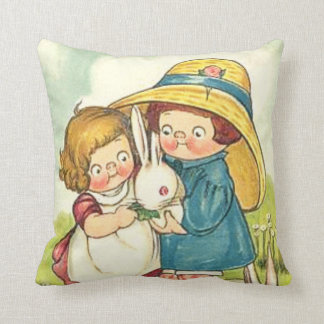 Vintage Children and Rabbits Easter Greeting Throw Pillow