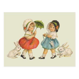 Vintage Children and Rabbits Postcard