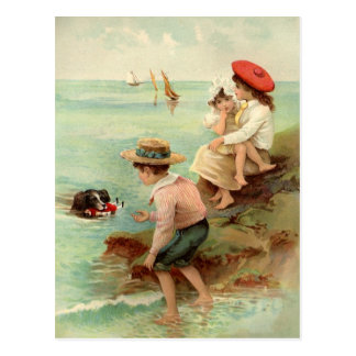 Vintage Children At The Beach Postcard