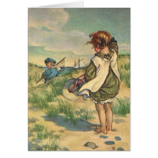 Vintage - Children at the Seashore, Card
