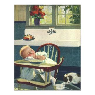 Vintage Children, Baby Sleeping Highchair Kitchen 11 Cm X 14 Cm Invitation Card