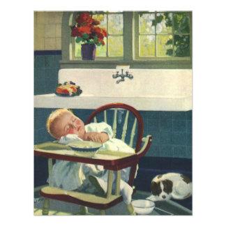 Vintage Children, Baby Sleeping Highchair Kitchen Custom Invite