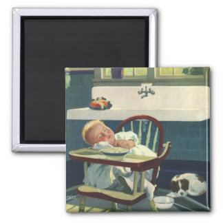 Vintage Children, Baby Sleeping Highchair Kitchen Magnet