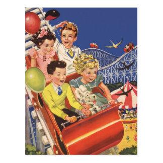 Vintage Children Balloons Dog Roller Coaster Ride Postcards