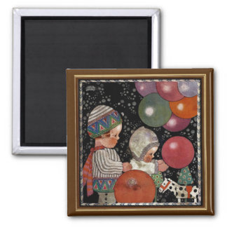 Vintage Children Birthday Party, Balloons and Toys Magnet