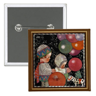 Vintage Children Birthday Party Balloons Fun Toys 15 Cm Square Badge