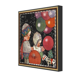 Vintage Children Birthday Party Balloons Fun Toys Stretched Canvas Prints