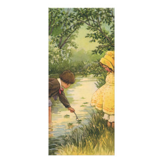 Vintage Children, Boy and Girl Playing by Creek Rack Card