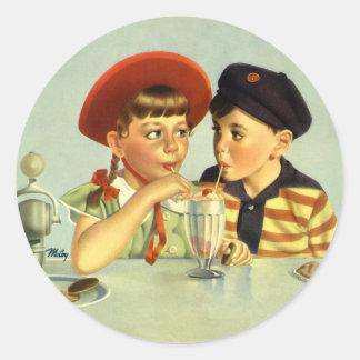 Vintage Children, Boy and Girl Sharing a Shake Classic Round Sticker