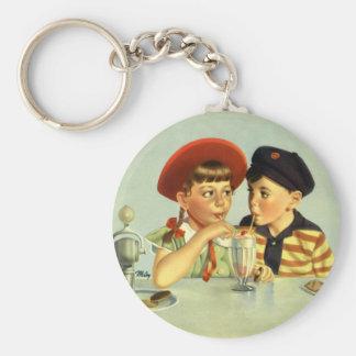 Vintage Children, Boy and Girl Sharing a Shake Key Ring