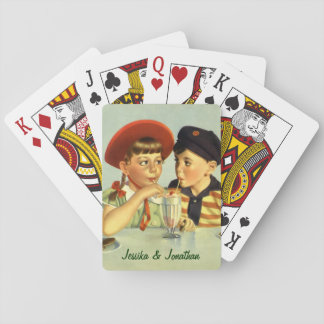 Vintage Children, Boy and Girl Sharing a Shake Poker Deck