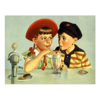 Vintage Children, Boy and Girl Sharing a Shake Postcard