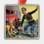 Vintage Children, Boy Safety Patrol Helping Girl Christmas Tree Ornaments