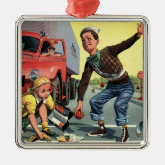 Vintage Children, Boy Safety Patrol Helping Girl Metal Ornament