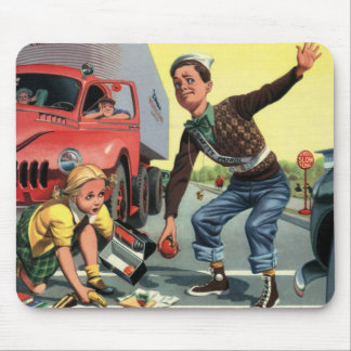 Vintage Children, Boy Safety Patrol Helping Girl Mouse Pad