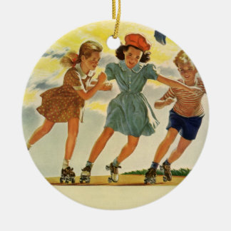 Vintage Children, Boys Girls Fun Roller Skating Ceramic Ornament