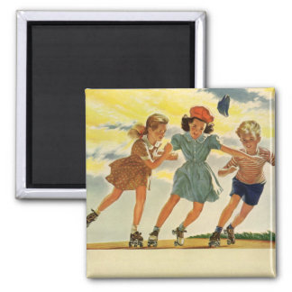 Vintage Children, Boys Girls Fun Roller Skating Magnets