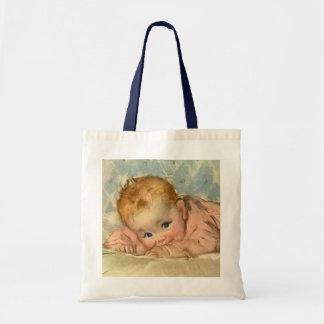 Vintage Children Child, Cute Baby Girl on Blanket Tote Bag
