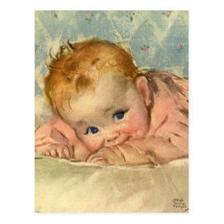 Vintage Children Child, Cute Baby Girl on Blanket Postcard